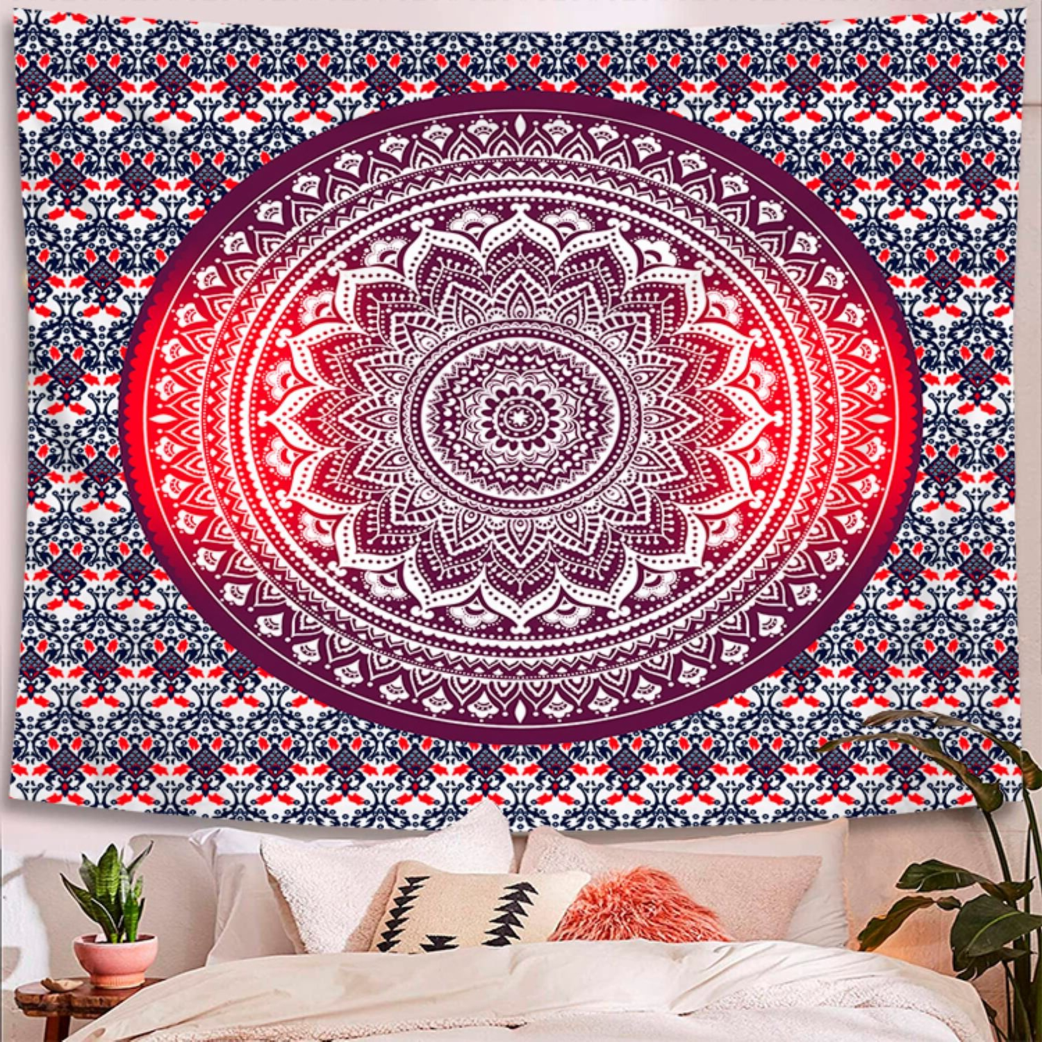 Widely Used Blended Fabric Clancy Wool And Cotton Wall Hangings With Hanging Accessories Included Throughout Indian Hippie Bohemian Psychedelic Peacock Mandala Polyester Tapestry With Hanging Accessories Included (View 6 of 20)