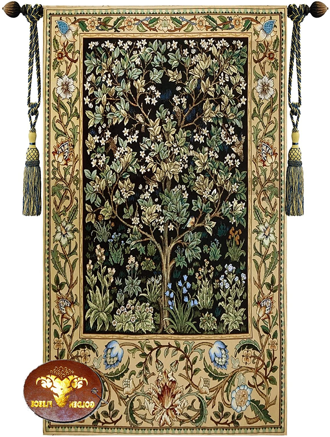 Widely Used Blended Fabric Pastel Tree Of Life Wall Hangings Throughout Beautiful Large Tree Of Life (b) William Morris Fine Tapestry Jacquard Woven Wall Hanging Art Decor (View 3 of 20)