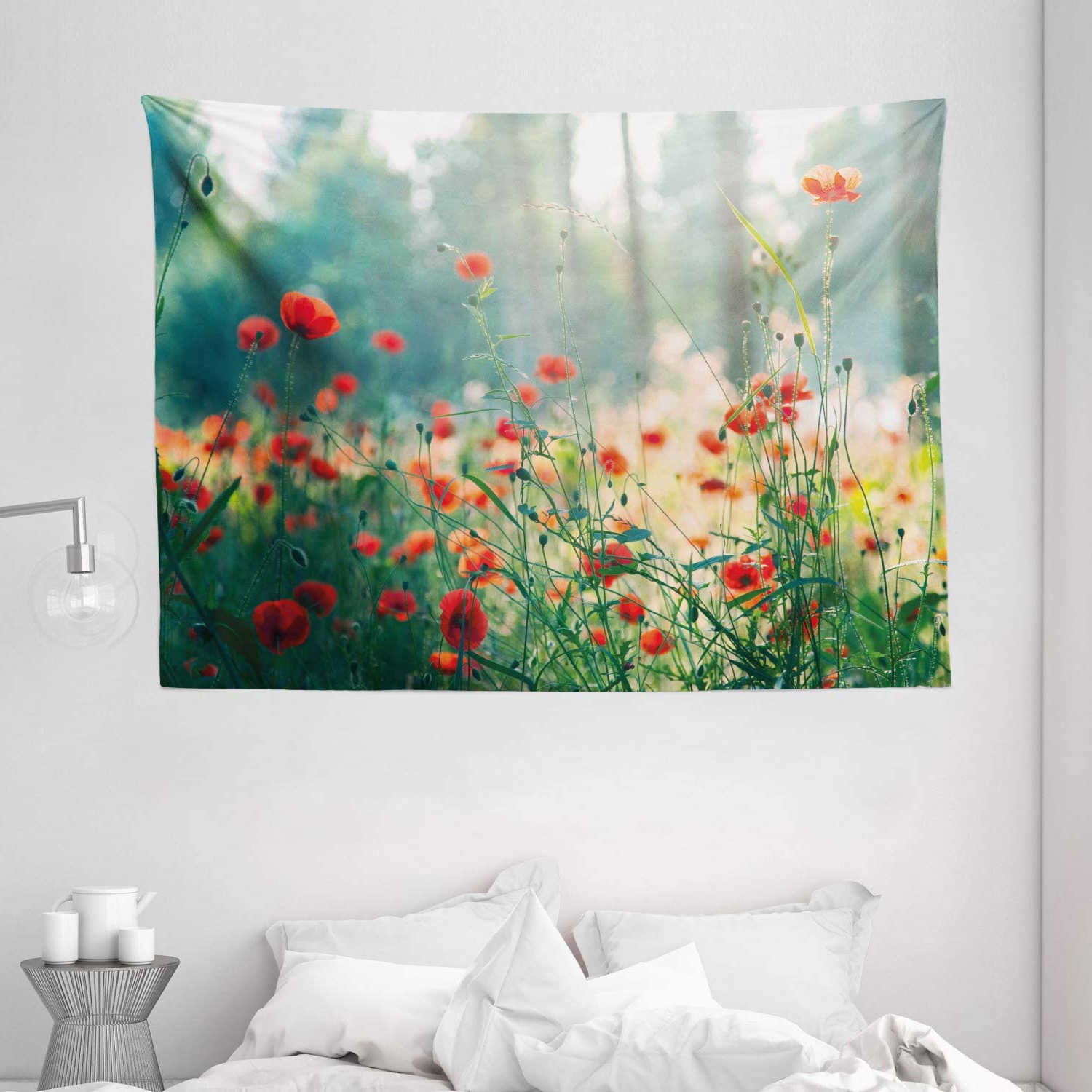 Widely Used Blended Fabric Poppy Red Wall Hangings Regarding Ambesonne Nature Tapestry, Wild Red Poppy Flowers Field Summertime Sunbeams Gardening Bedding Plants, Wide Wall Hanging For Bedroom Living Room Dorm, (View 17 of 20)