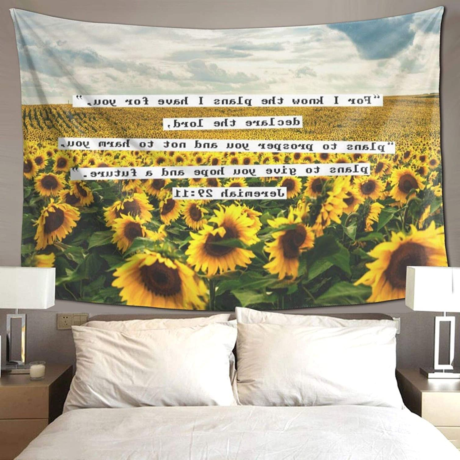 Widely Used Blended Fabric Trust In The Lord Tapestries And Wall Hangings For Hippie Art Tapestry Wall Hanging Tapestries Beautiful Sunflower Blue Sky Wall Blanket Wall Hanging Home Decor Tablecloths For Bedroom Living Room Dorm (View 5 of 20)