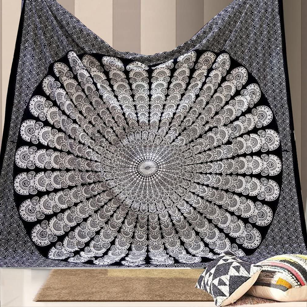 Widely Used Bless International Indian Hippie Bohemian Psychedelic Peacock Mandala Wall Hanging Bedding Tapestry (black White, Twin(54x72inches)(140x185cms)) Intended For Blended Fabric Peacock European Tapestries (View 20 of 20)