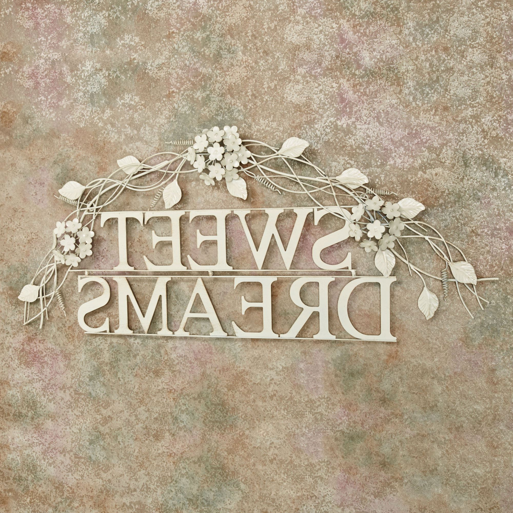 Widely Used Dream Metal Wall Décor Pertaining To Sweet Dreams Creamy Gold Metal Word Wall Art (View 13 of 20)