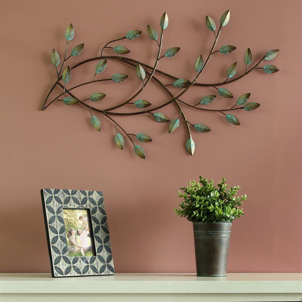 Widely Used Gold W/teal Patina Blowing Leaves Metal Wall Art Sculpture Inside Blowing Leaves Wall Décor (View 12 of 20)