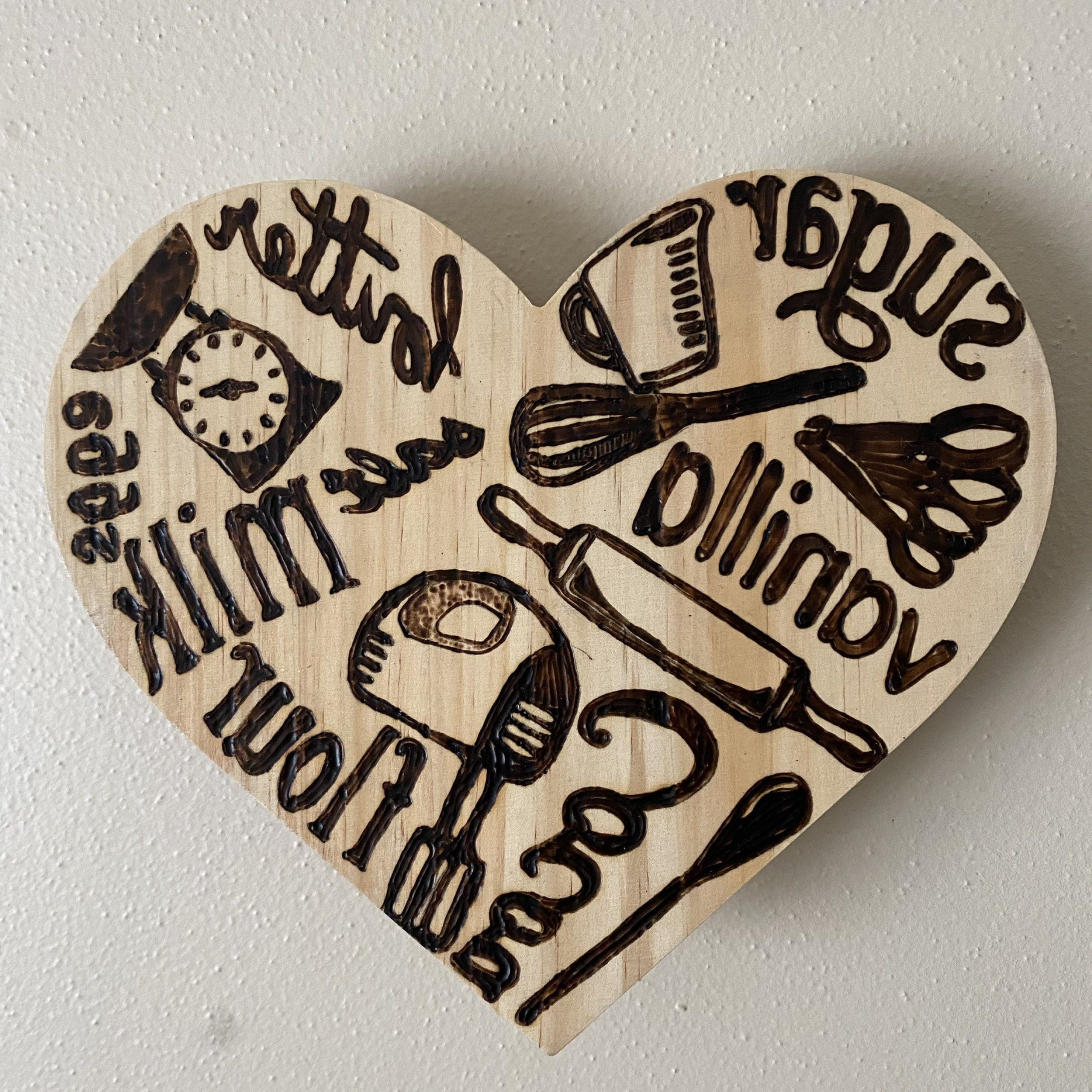 """Widely Used Heart Shaped """"home"""" Sign Wall Décor Pertaining To Kitchen Heart Shaped Ingredient Handmade Wood Burning (View 17 of 20)"""