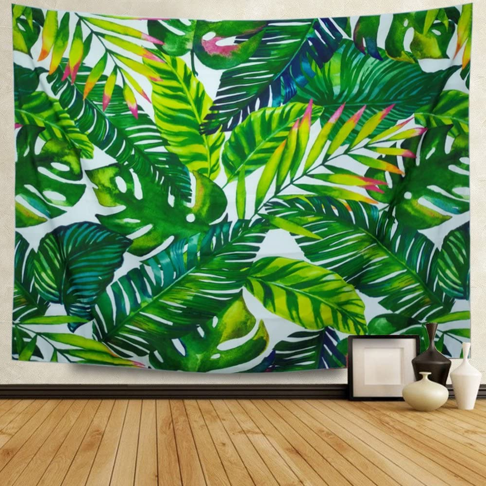 Widely Used Heopapin Tapestry Palm Tapestry Wall Hanging Palm Tree Leaves Wall Tapestry Watercolor Leaf Print Tapestry Green Tropical Leaves Wall Hanging Banana Regarding Blended Fabric Palm Tree Wall Hangings (View 3 of 20)