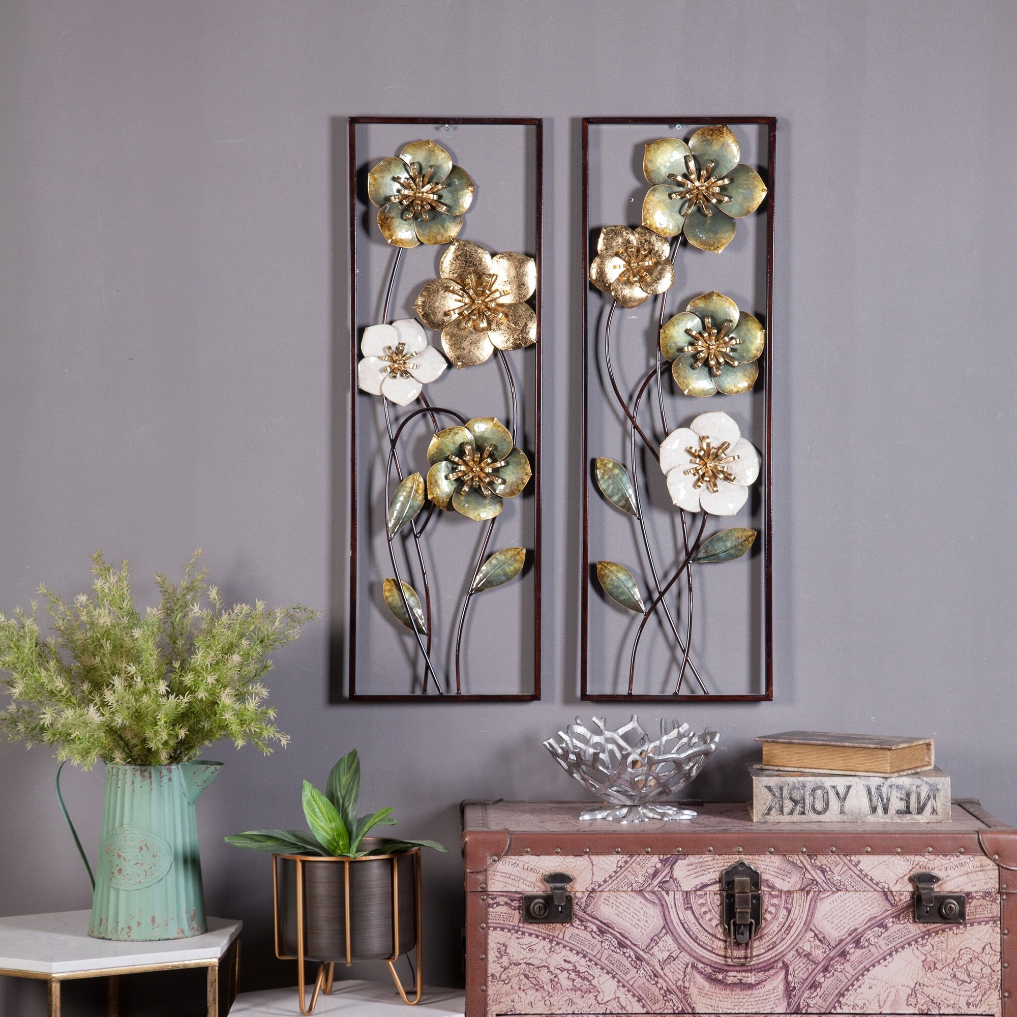 Widely Used Maria Metal Capiz Wall Décor With 2 Piece Metal Flowers Wall Décor Set (View 9 of 20)