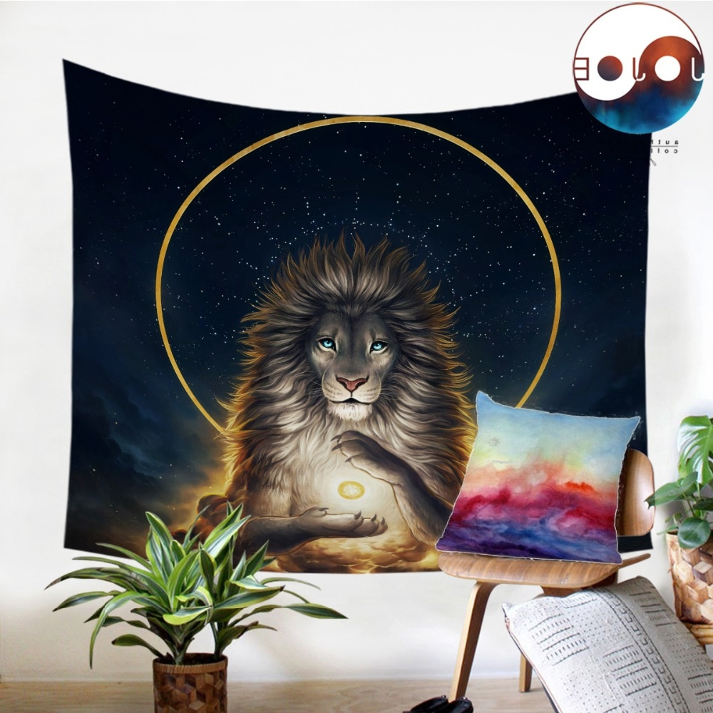 Widely Used Soul Keeperjojoesart Tapestry Lion God In The Sky Wall Hanging Animal Sheets Golden Tapestry Home Decor 130x150cm Picnic Mat Intended For Lion I European Tapestries (View 16 of 20)