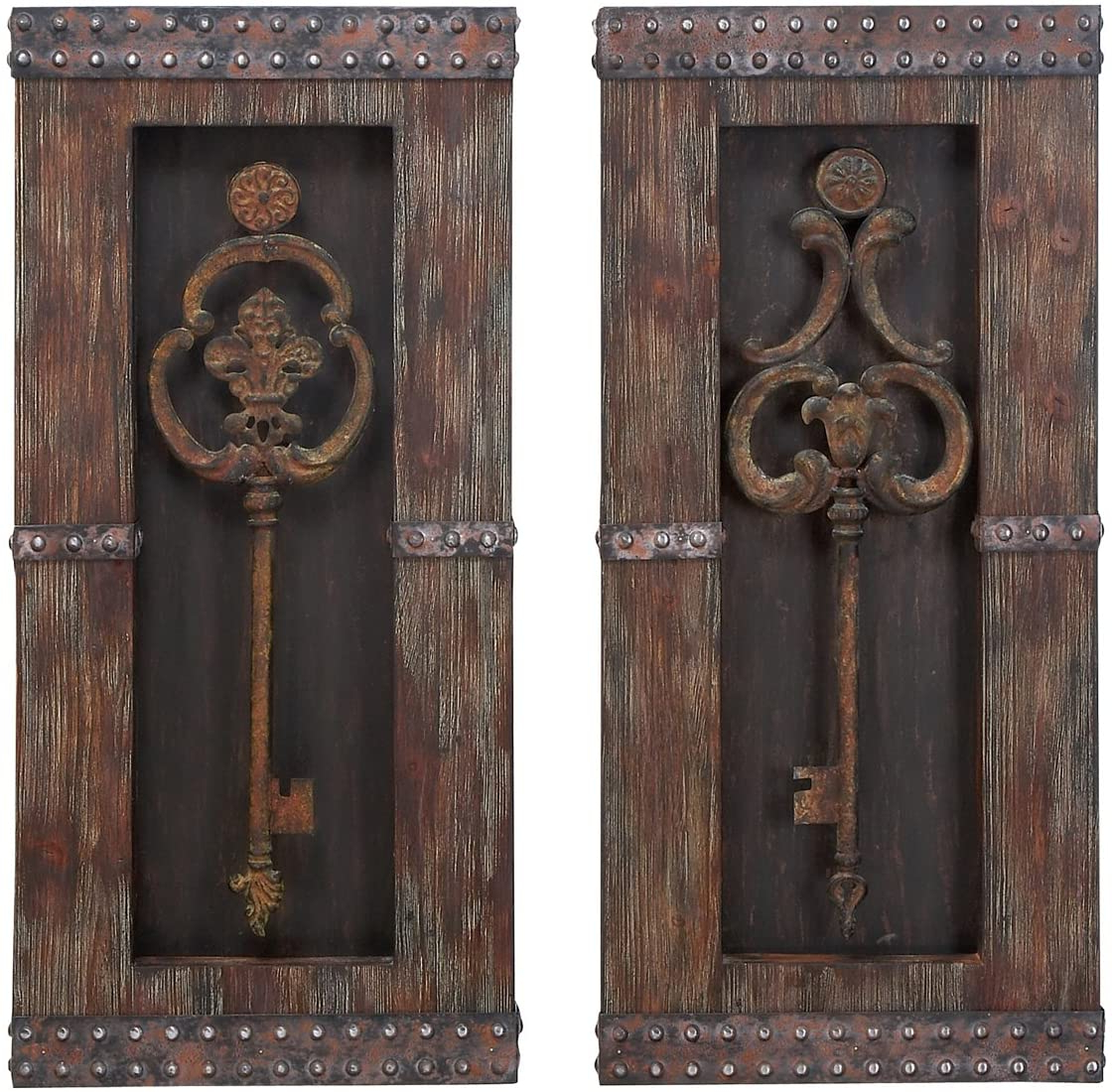 Widely Used Urban Designs 2 Piece Vintage Metal Keys Wall Art Decor Set, Brown In Key Wall Décor (set Of 2) (View 3 of 20)