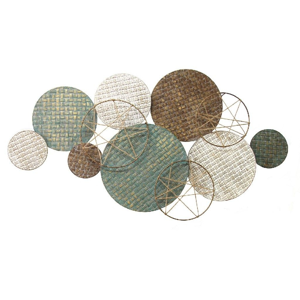 Woven Texture Metal Plates W/ Jute Accents – Stratton Home Decor S13552 Throughout Newest Multi Plates Wall Décor By Stratton Home Decor (View 15 of 20)
