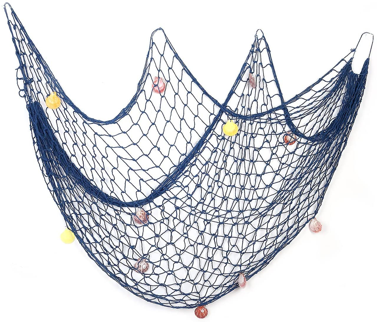 Yagote 79inch X 39inch Decorative Fish Net With Shells Blue Mediterranean Style Nautical Decorative Fishing Net Hanging Home Decor Room Throughout 2019 Handcrafted Hanging Fish In Net Wall Décor (View 7 of 20)