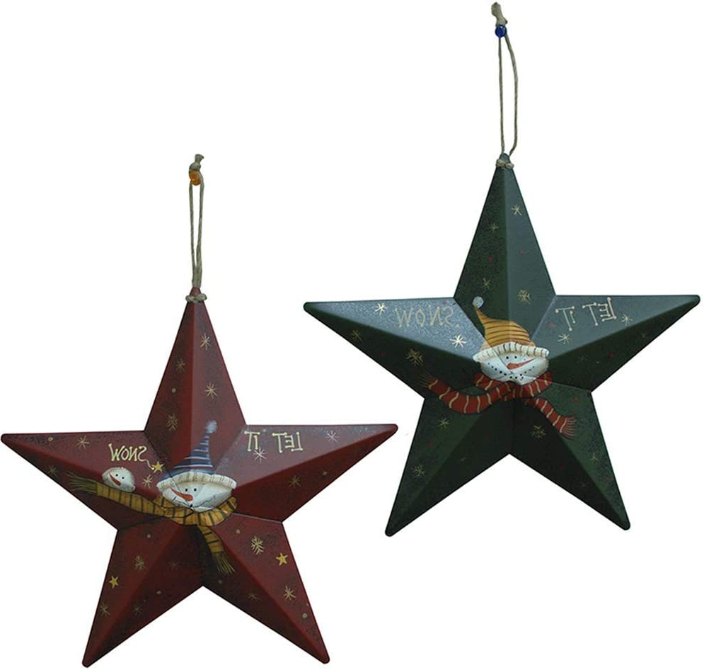 Yumbor Set Of 2 Metal Rustic Snowman 3d Barn Star Christmas Hanging  Christmas Tree Ornament Christmas Wall Decor Christmas Holiday Indoor  Outdoor Within Favorite Barn Star Wall Décor (set Of 2) (View 11 of 20)