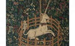 Blended Fabric Unicorn in Captivity Ii (with Border) Wall Hangings