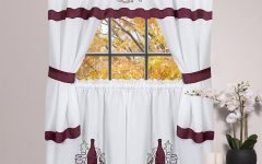 5-Piece Burgundy Embroidered Cabernet Kitchen Curtain Sets