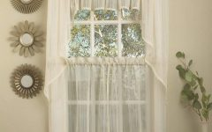 Ivory Micro-striped Semi Sheer Window Curtain Pieces