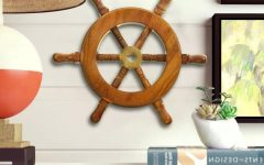 Brown/brass Wood Ship Wheel Wall Décor