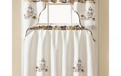 Coffee Embroidered Kitchen Curtain Tier Sets