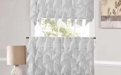 Silver Vertical Ruffled Waterfall Valance And Curtain Tiers