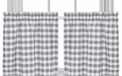 Cotton Blend Grey Kitchen Curtain Tiers