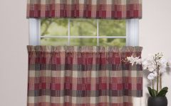 Burgundy Cotton Blend Classic Checkered Decorative Window Curtains