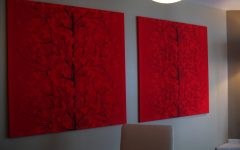 Red Fabric Wall Art