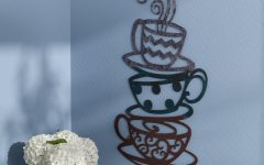 Decorative Three Stacked Coffee Tea Cups Iron Widget Wall Decor