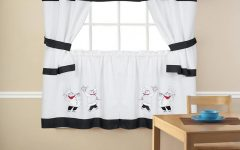 Embroidered Chef Black 5-Piece Kitchen Curtain Sets