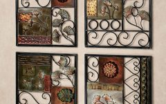 4 Piece Metal Wall Plaque Decor Sets