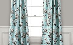 Floral Pattern Room Darkening Window Curtain Panel Pairs