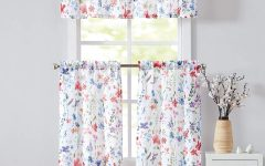 Floral Watercolor Semi-Sheer Rod Pocket Kitchen Curtain Valance And Tiers Sets
