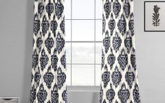 Ikat Blue Printed Cotton Curtain Panels