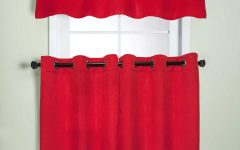 Modern Subtle Texture Solid Red Kitchen Curtains