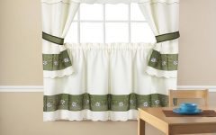 Embroidered Floral 5-piece Kitchen Curtain Sets