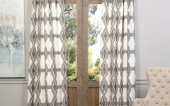Sarong Grey Printed Cotton Pole Pocket Single Curtain Panels