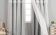 Tulle Sheer With Attached Valance And Blackout 4-Piece Curtain Panel Pairs
