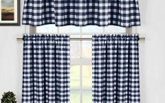 Classic Navy Cotton-blend Buffalo Check Kitchen Curtain Sets