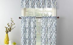 Geometric Print Microfiber 3-Piece Kitchen Curtain Valance And Tiers Sets