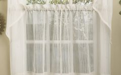 Micro Striped Semi Sheer Window Curtain Pieces
