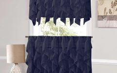 Navy Vertical Ruffled Waterfall Valance and Curtain Tiers