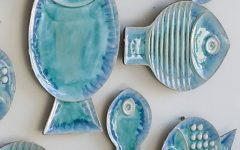 Ceramic Blue Fish Plate Wall Decor