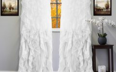Sheer Voile Ruffled Tier Window Curtain Panels