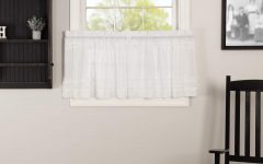 Rod Pocket Cotton Solid Color Ruched Ruffle Kitchen Curtains