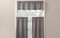 Solid Microfiber 3-piece Kitchen Curtain Valance and Tiers Sets