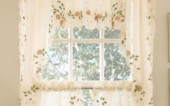 Floral Lace Rod Pocket Kitchen Curtain Valance and Tiers Sets