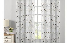 Wavy Leaves Embroidered Sheer Extra Wide Grommet Curtain Panels