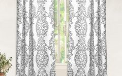 Pastel Damask Printed Room Darkening Grommet Window Curtain Panel Pairs