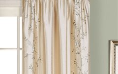 Ofloral Embroidered Faux Silk Window Curtain Panels