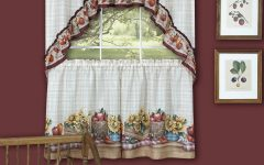 Window Curtains Sets with Colorful Marketplace Vegetable and Sunflower Print